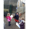 We went on a Christmas writing Hunt outside