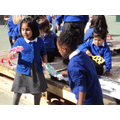 Experimenting with bubbles in outdoor area.