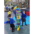 Balancing and building in the Outdoor area.