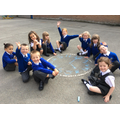 We made our own clock using chalk