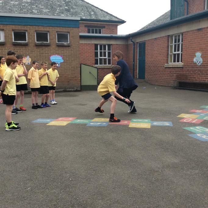 Mrs Hamilton demonstrates defence tactics!