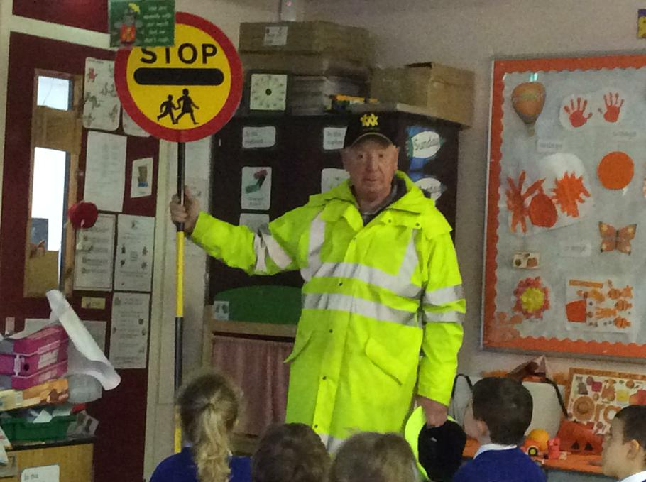 John came to talk to us about crossing the road.
