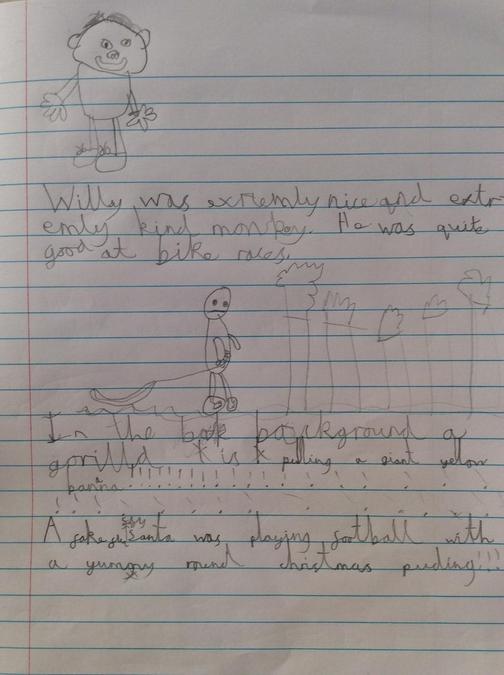 Walter is working hard on his handwriting!