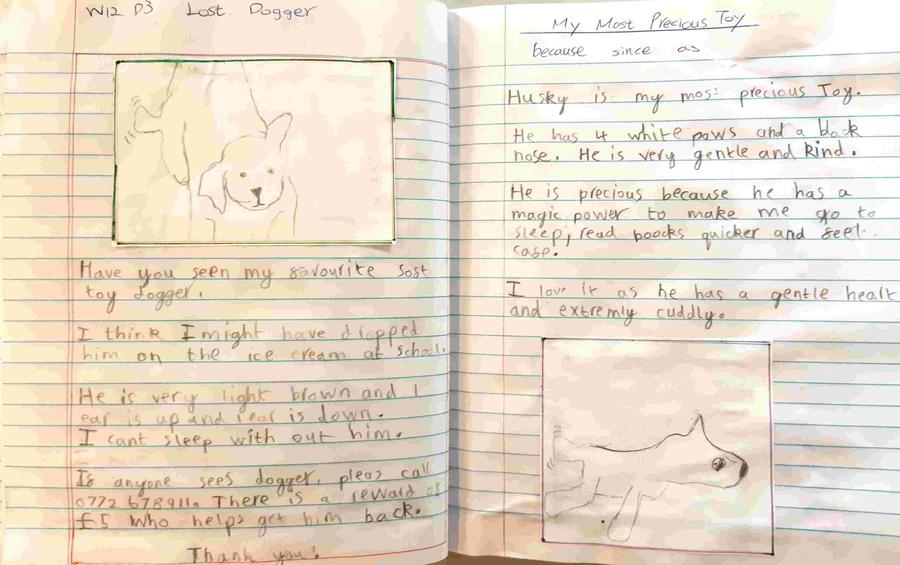 Some super writing from William- good boy