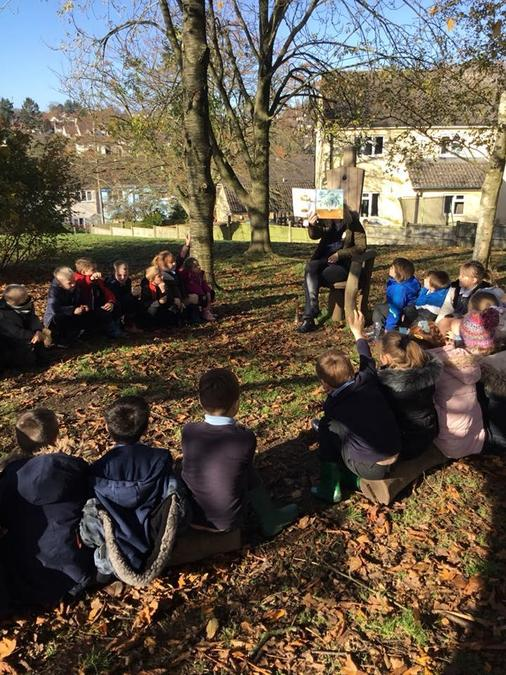 Stories outside under the reading tree