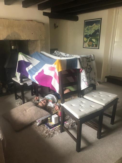 Brooke has been den building this week!