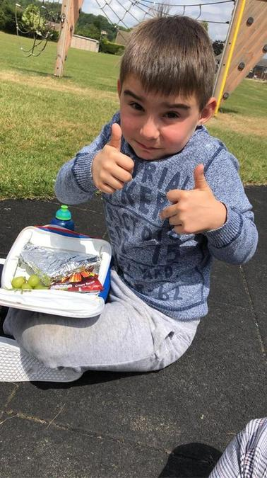 He has had a picnic in the park- yummy!