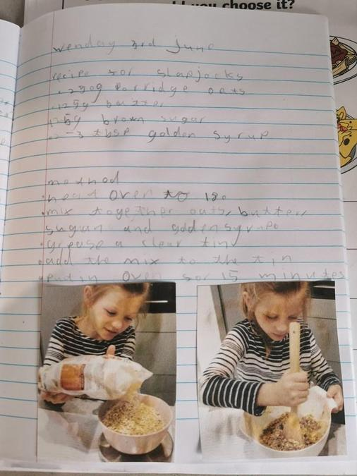 Poppy made and then wrote about flapjacks- yum!