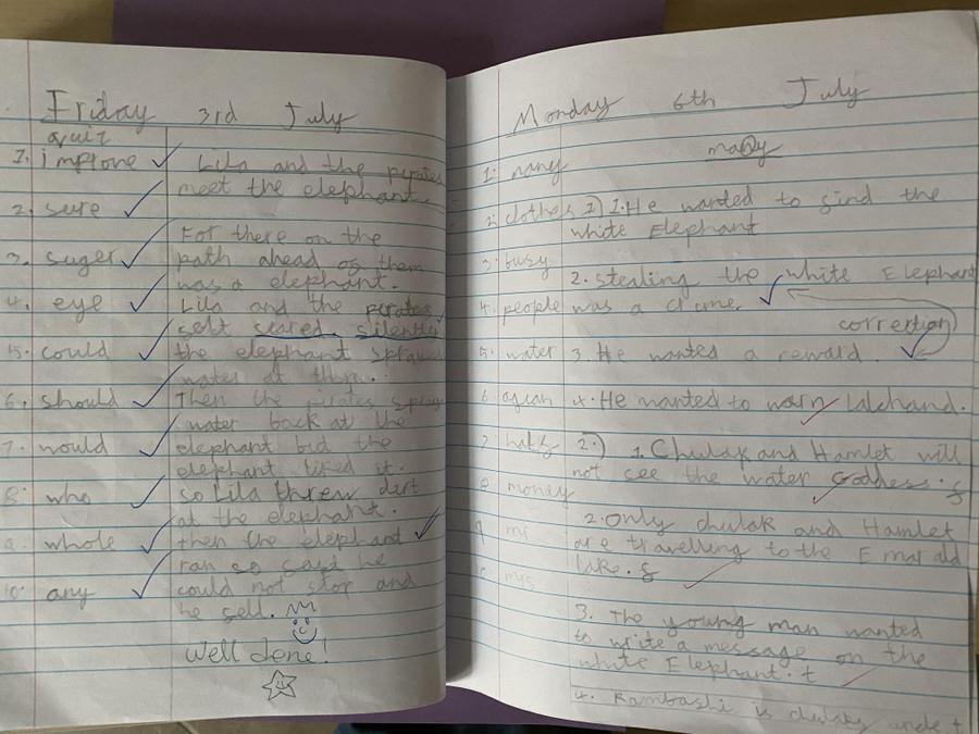Super hard work in Literacy fantastic handwriting
