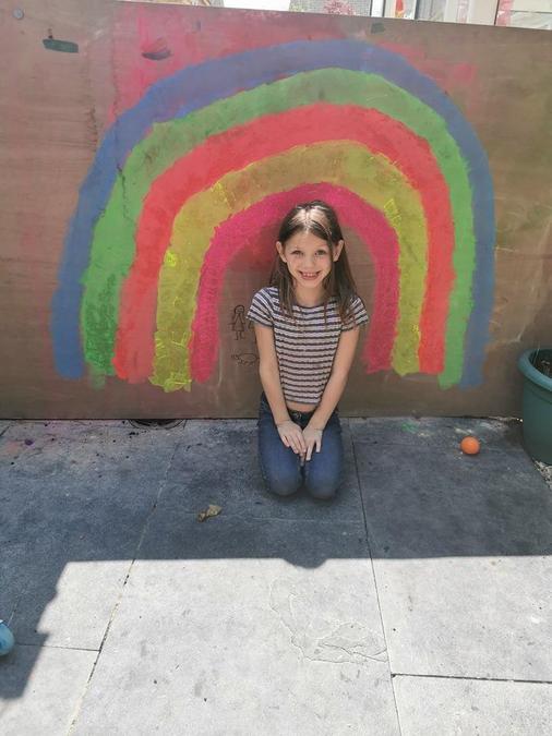 Poppy has made her own rainbow!