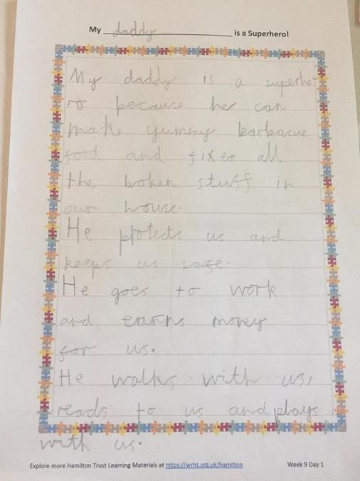 Daniel wrote about his superhero Daddy!
