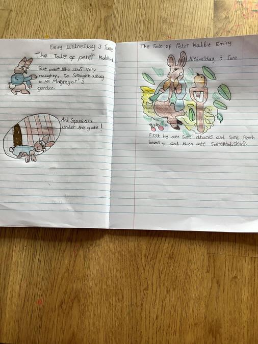 Emily has done some beautiful Peter Rabbit work!