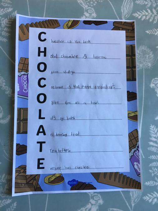 A chocolate poem to finish off Shiv's project!