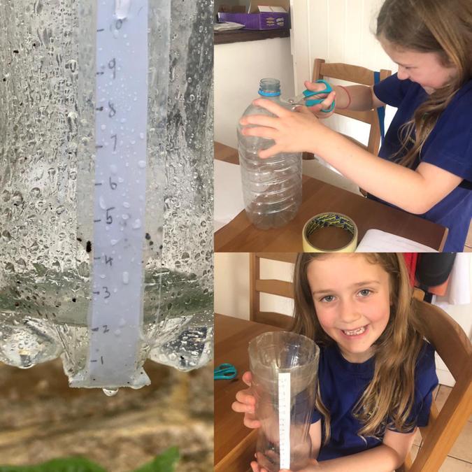 Brooke has made a rain gauge -the best week for it