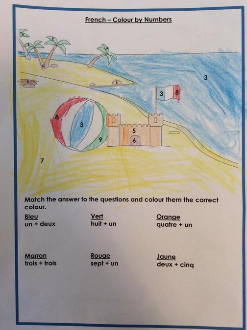 Walter has been learning french numbers and completed a colour by number! Fantastic work!