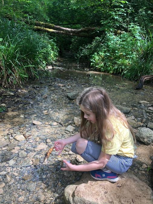 Brooke went to the stream and found a shrimp!