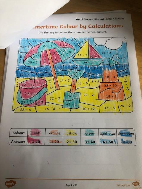 Ted has been doing some summer themed maths this week
