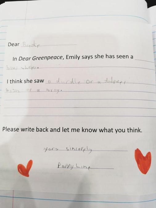 Poppy has written a letter about Greenpeace
