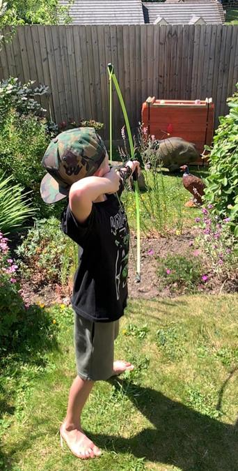 Wow! Some back garden archery for Ted