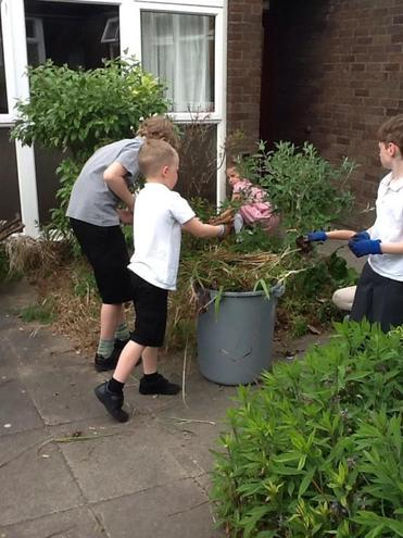 We managed to fill the whole bin with weeds!