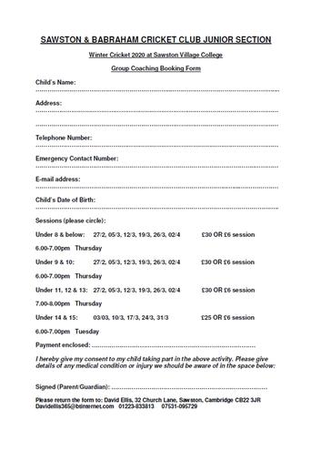 Sawston & Babraham Cricket Club Booking Form