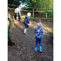 Having great fun on the mud slide.