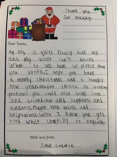 Ewan wrote a lovely letter to Father Christmas during some free time