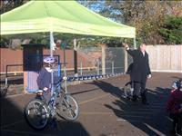 Official opening of the new bike sheds.