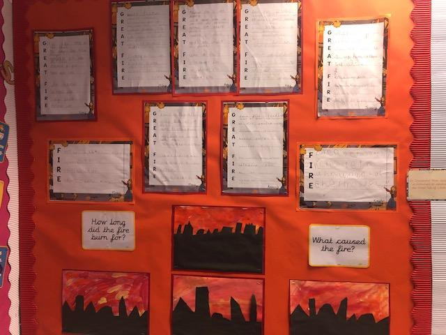 During English we planned and wrote acrostic poems about the Great Fire of London.