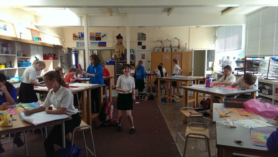 Photo of pupils in the art studio