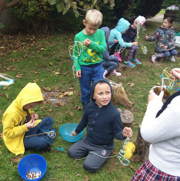 Photo of pupils in the forest school area