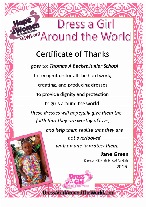 Certificate of thanks for Dress a Girl Around the World
