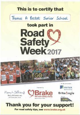 Photo of Road Safety Week Certificate