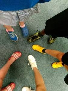 Photo of pupils shoes on Happy Shoes Day