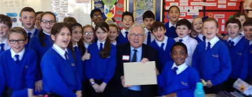 Photo of pupils with MP