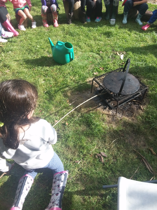 Photo of pupils around the firepit