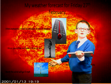 Photo of pupil using the green screen
