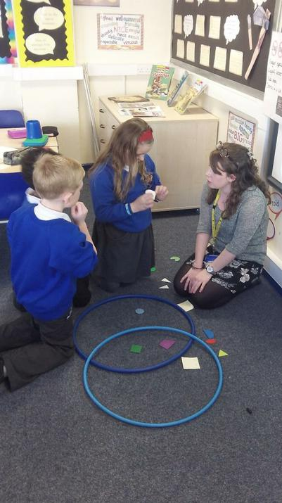 Photo of pupils doing a maths experiment in the classroom