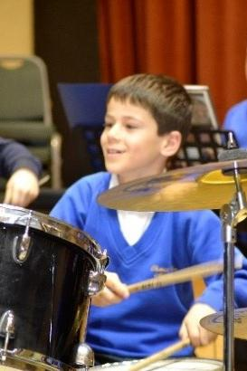 Photo of pupil playing drums
