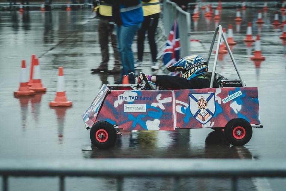 Photo of pupil driving Formula Goblin Go kart