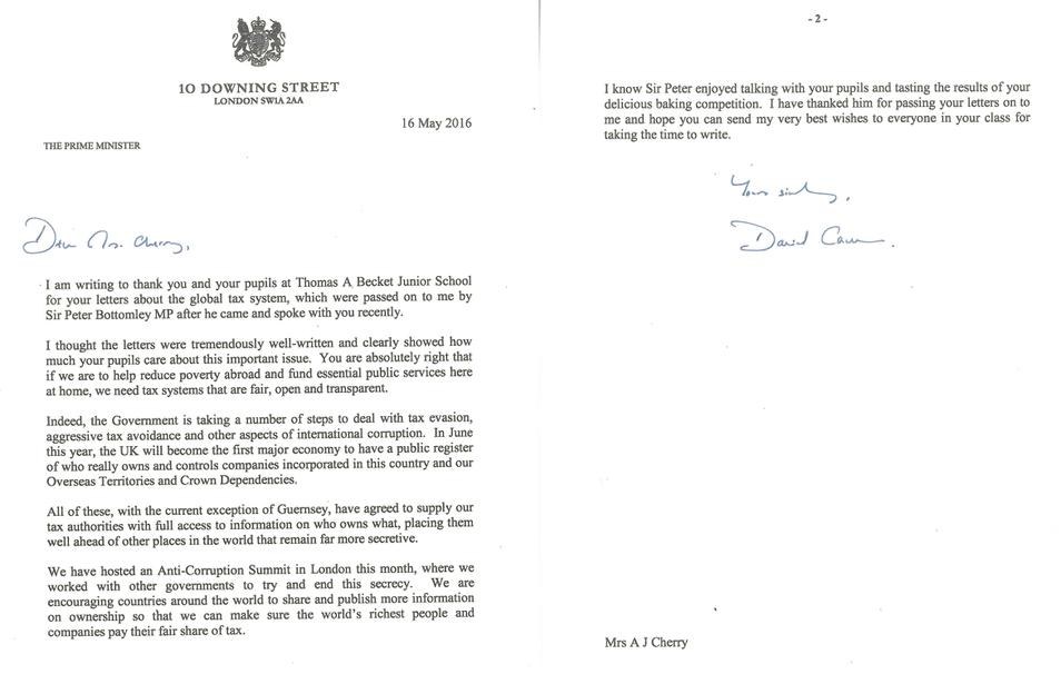 Photo of letter from Prime Minister