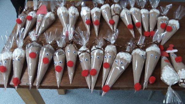 Photo of hot chocolate reindeer cones