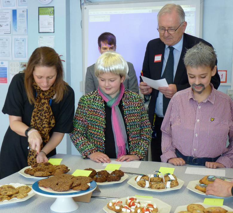 Photos of judges of baking competition