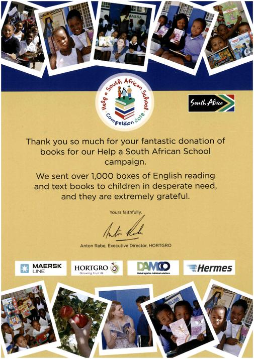 Thank you letter from Help a South African School campaign following our donation of books