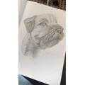 Miss Christian drew her dog, Bertie.