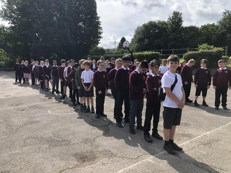 Year 6 Lining up Smartly on the First Day Back at School.
