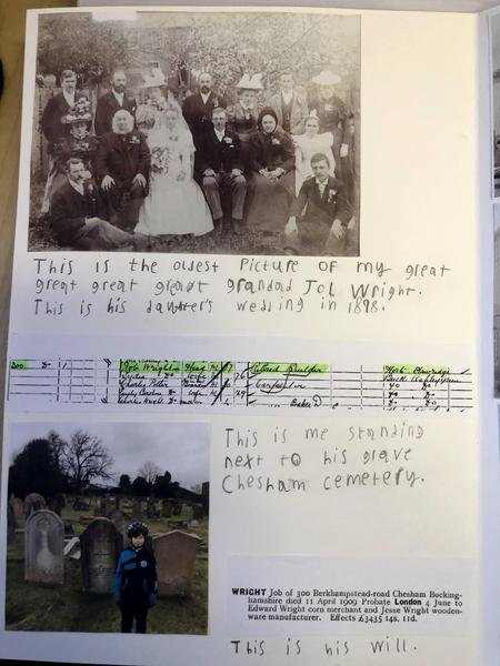 Photographs of weddings from 1898 and Jonny at Mr Wright's grave.
