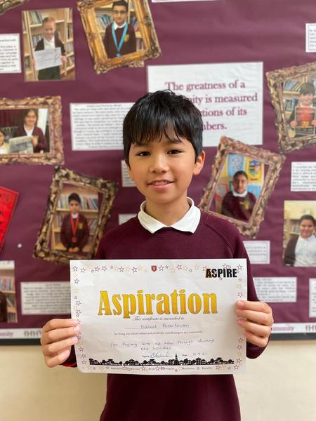 D in Year 6 won the aspiration certificate