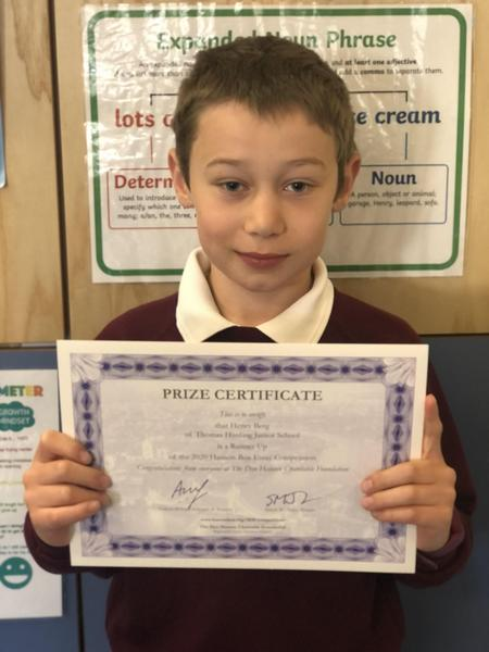 Henry (Year 4) won a Runners Up Prize