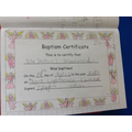 Making a Baptism Certificate.